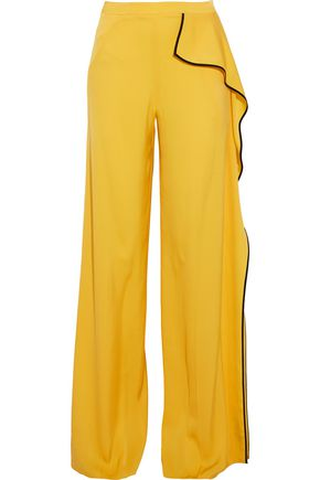 VIONNET Ruffled silk wide-leg pants