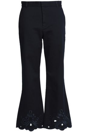 SEE BY CHLOÉ Broderie anglaise-trimmed cotton-blend twill kick-flare pants