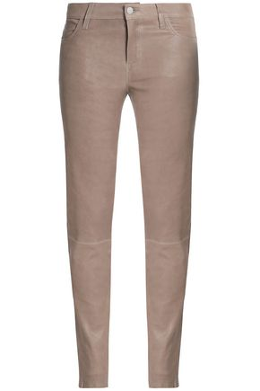 WOMAN LEATHER SKINNY PANTS TAUPE