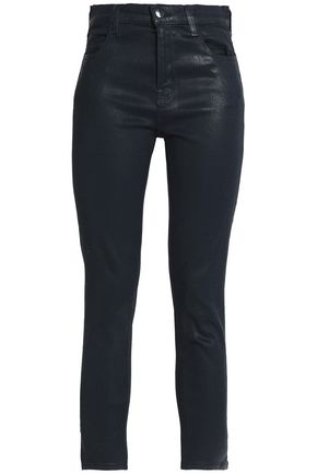 J BRAND Cropped coated high-rise skinny jeans