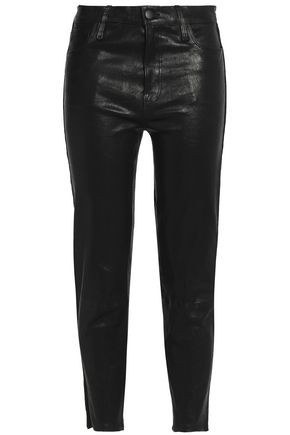 J BRAND Cropped leather skinny pants