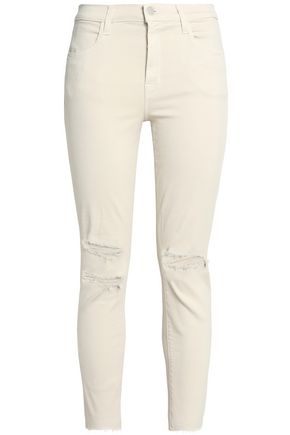 J BRAND Mercy cropped distressed high-rise skinny jeans