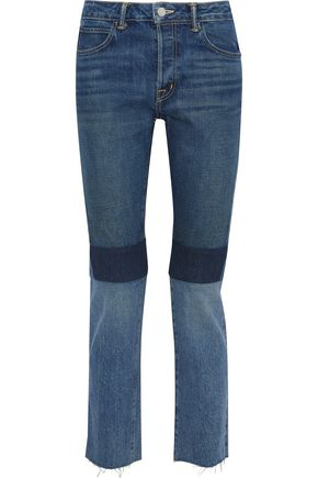 HELMUT LANG Cropped patchwork mid-rise slim-leg jeans