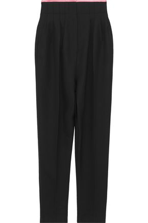HAIDER ACKERMANN Silk satin-trimmed pleated wool straight-leg pants