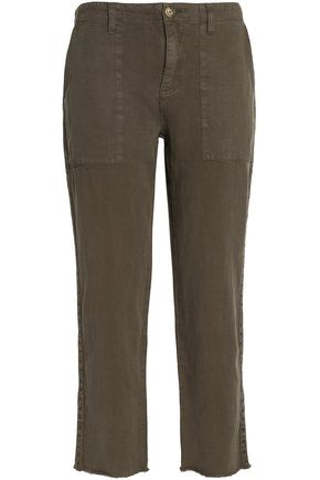 JOIE Cropped studded canvas straight-leg pants