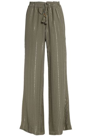 JOIE Metallic striped silk-blend wide-leg pants
