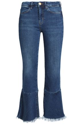 M.I.H JEANS Cropped frayed high-rise flared jeans