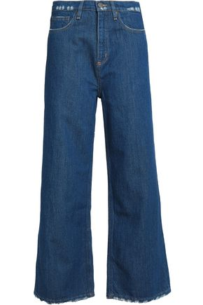 M.I.H JEANS Distressed high-rise wide-leg jeans
