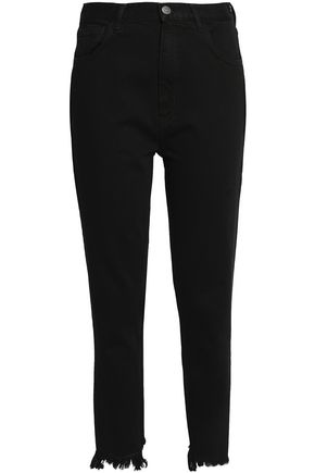 M.I.H JEANS Frayed high-rise slim-leg jeans