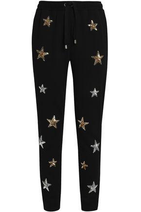 ZOE KARSSEN Sequin-embellished cotton-terry track pants