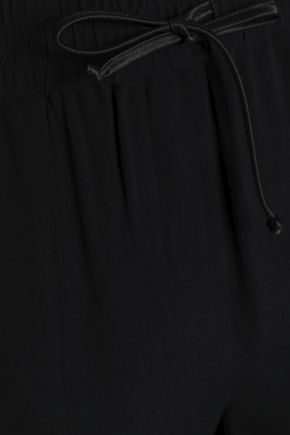 ZOE KARSSEN Metallic-trimmed crepe track pants