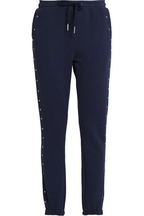 ZOE KARSSEN Studded cotton-blend terry track pants