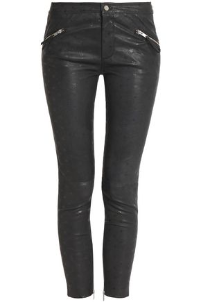 ZOE KARSSEN Metallic printed leather skinny pants