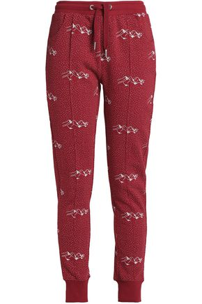 ZOE KARSSEN Printed cotton-blend terry track pants