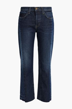 CURRENT/ELLIOTT Two-tone mid-rise straight-leg jeans