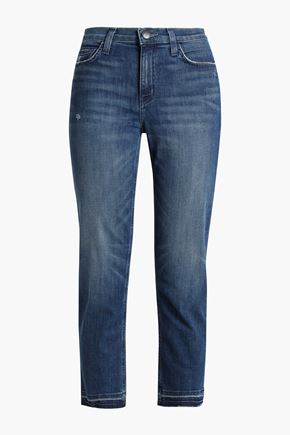 CURRENT/ELLIOTT Cropped distressed mid-rise slim-leg jeans
