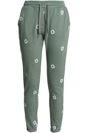 ZOE KARSSEN Embroidered cotton-jersey track pants