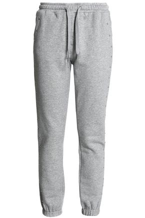 ZOE KARSSEN Studded French cotton-blend terry track pants