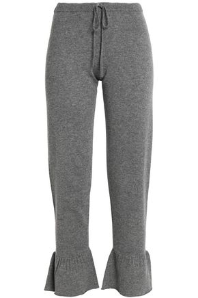 MADELEINE THOMPSON Ruffle-trimmed mélange wool and cashmere-blend track pants