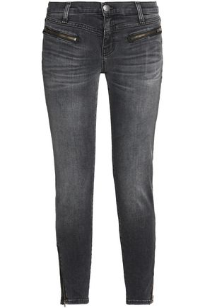 CURRENT/ELLIOTT The Atwater Zip faded low-rise skinny jeans