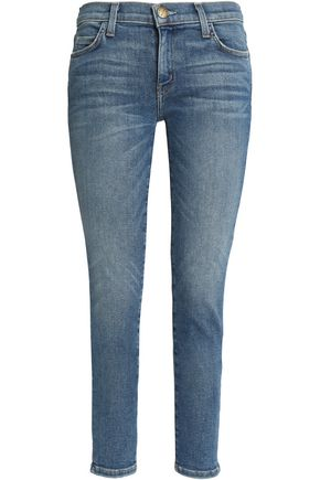 CURRENT/ELLIOTT The Stiletto cropped faded mid-rise skinny jeans