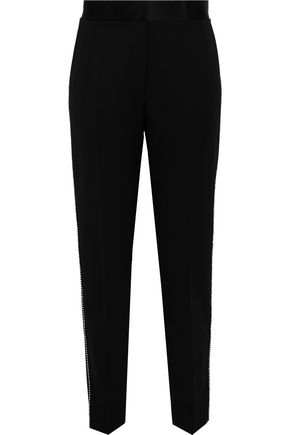 ALEXANDER WANG Silk-paneled embellished twill slim-leg pants