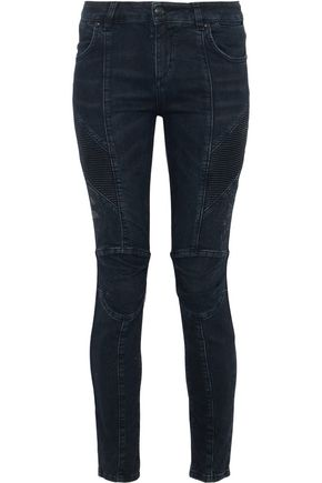 WOMAN MOTO-STYLE DISTRESSED LOW-RISE SKINNY JEANS DARK DENIM