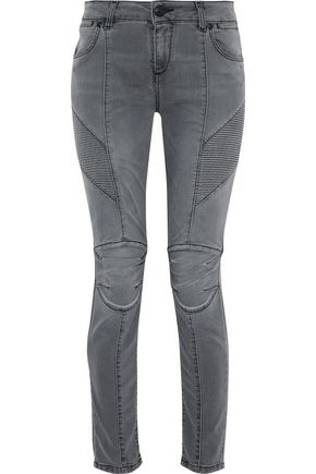 WOMAN MOTO-STYLE FADED SLIM-LEG JEANS GRAY