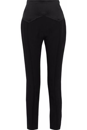 CARMEN MARCH Satin-paneled crepe tapered pants