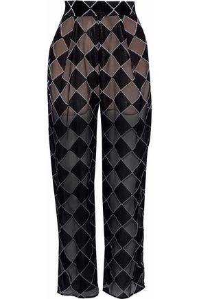CARMEN MARCH Devoré-velvet wide-leg pants