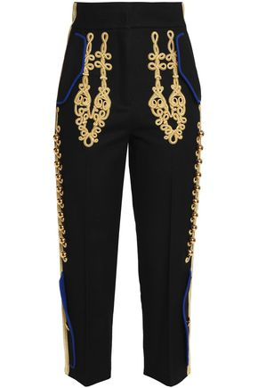 DOLCE & GABBANA Cropped embellished wool-blend tapered pants