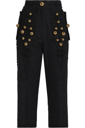 DOLCE & GABBANA Cropped embellished embroidered wool-blend straight-leg pants
