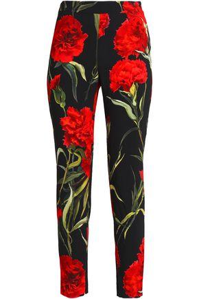 DOLCE & GABBANA Floral-print crepe skinny pants