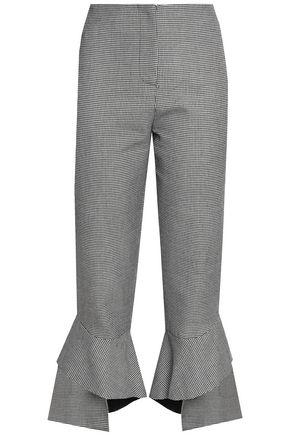 NICHOLAS Ruffled houndstooth woven bootcut pants