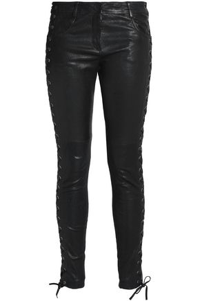 A.L.C. Lace-up leather skinny pants