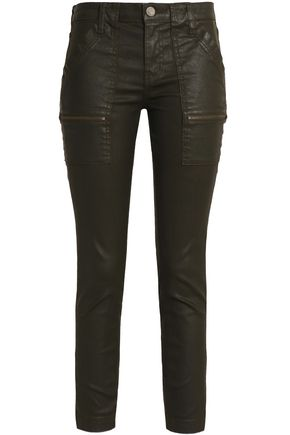 JOIE Park cropped coated high-rise skinny jeans