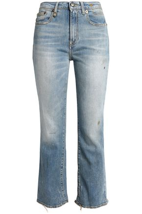 R13 Shiloh cropped distressed mid-rise bootcut jeans