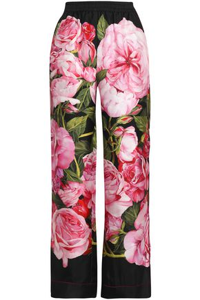 DOLCE & GABBANA Floral-print silk-twill wide-leg pants