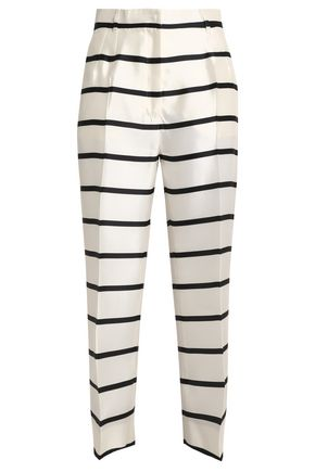 DOLCE & GABBANA Cropped striped silk-twill straight-leg pants