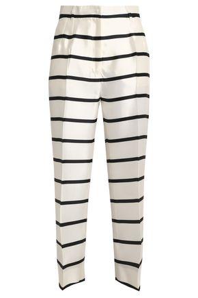 DOLCE & GABBANA Cropped striped silk-twill straight-leg pants