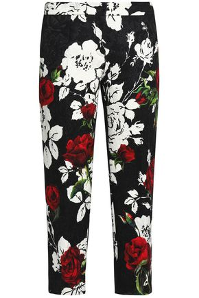 DOLCE & GABBANA Cropped floral-print cotton-blend jacquard tapered pants