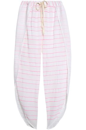 LEMLEM Paneled striped cotton-blend gauze wide-leg pants