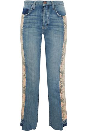CURRENT/ELLIOTT Cropped floral-paneled mid-rise flared jeans