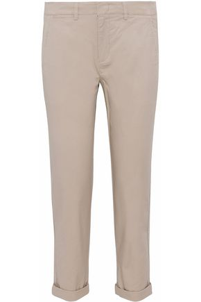 VINCE. Cropped stretch-cotton twill skinny pants