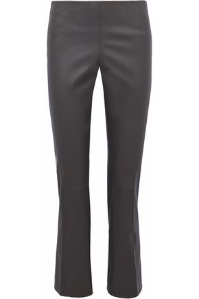 VINCE. Cropped leather bootcut pants