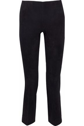 VINCE. Cropped suede straight-leg pants