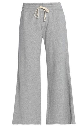 MOTHER Cropped mélange cotton-jersey track pants