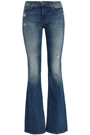MOTHER Distressed faded mid-rise flared jeans