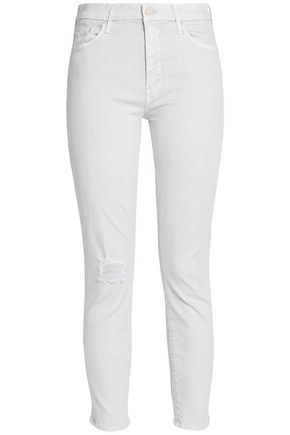 MOTHER Cropped distressed mid-rise skinny jeans