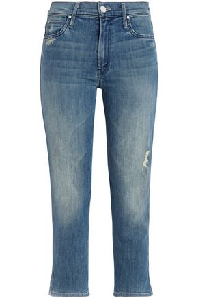 MOTHER Cropped distressed high-rise slim-leg jeans